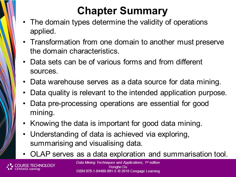 Chapter Summary The domain types determine the validity of operations applied.