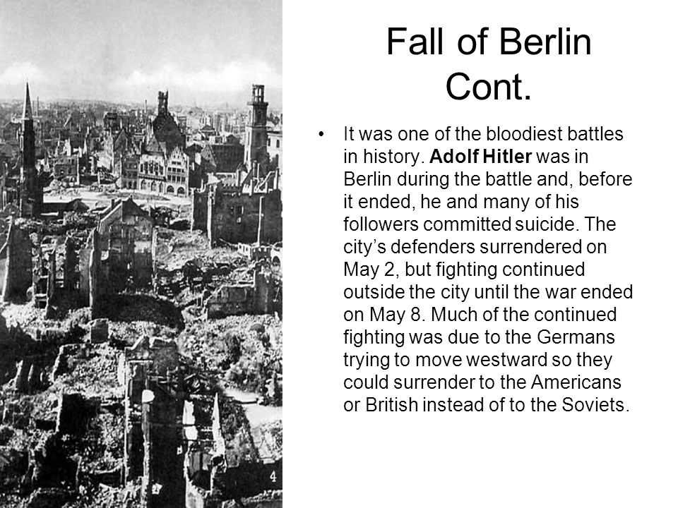 Fall of Berlin Cont.