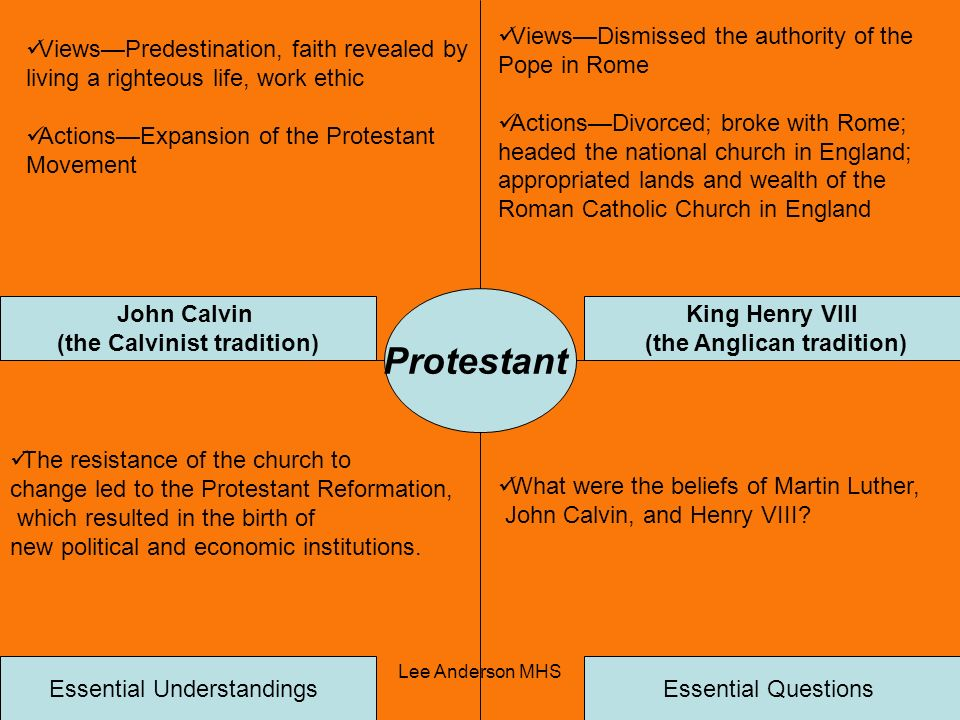 (the Calvinist tradition) (the Anglican tradition)