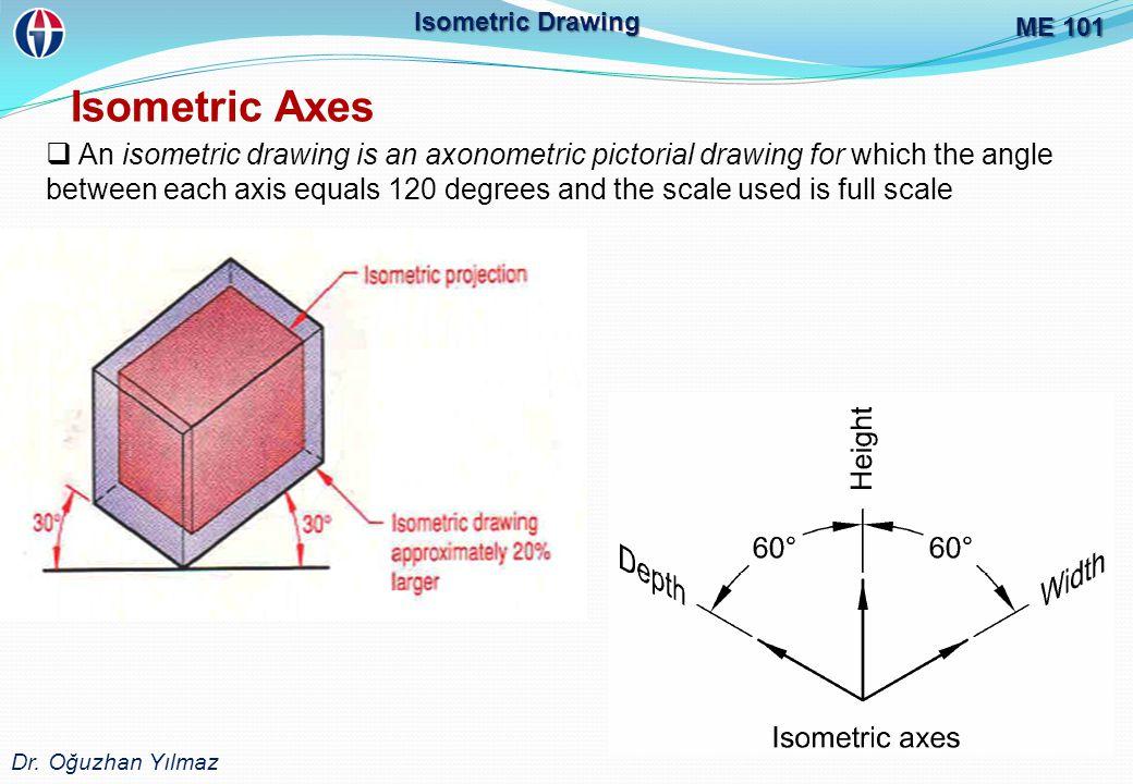 ME 101 Dr. Oğuzhan Yılmaz. Isometric Drawing. Isometric Axes.
