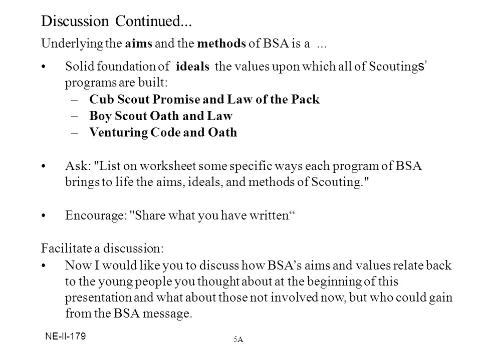 Discussion Continued... Underlying the aims and the methods of BSA is a ...