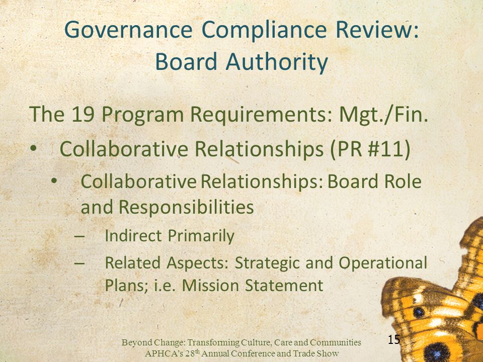 Governance Compliance Review: Board Authority