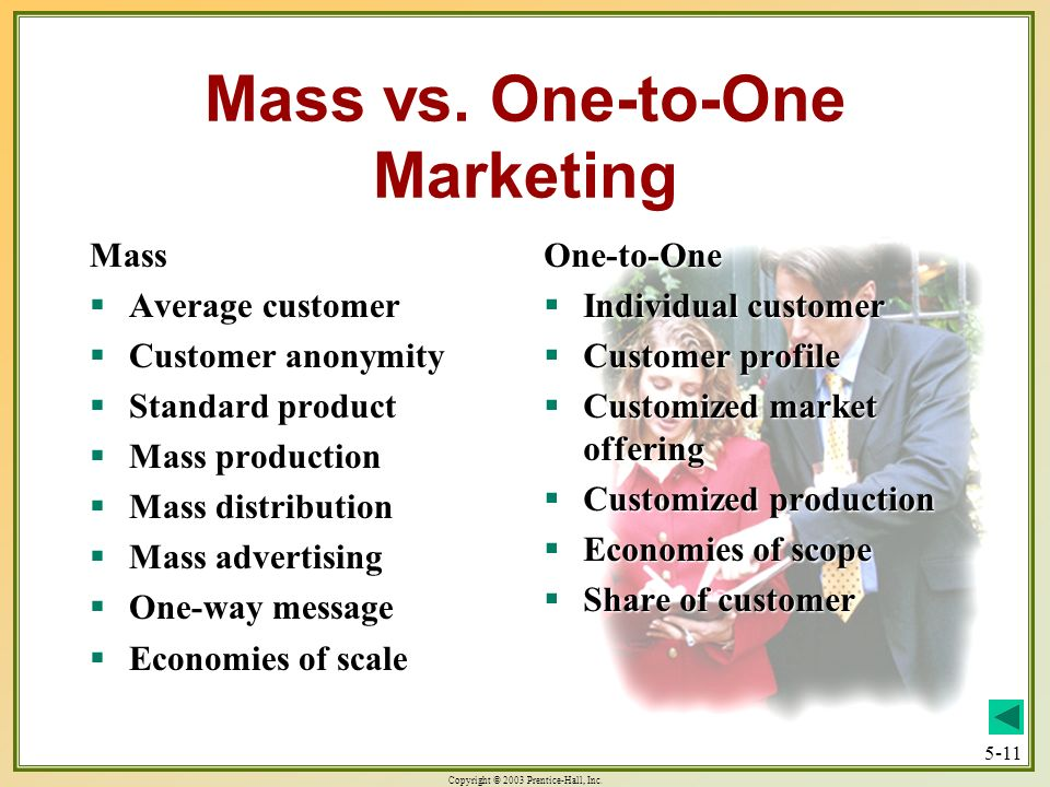 Mass vs. One-to-One Marketing