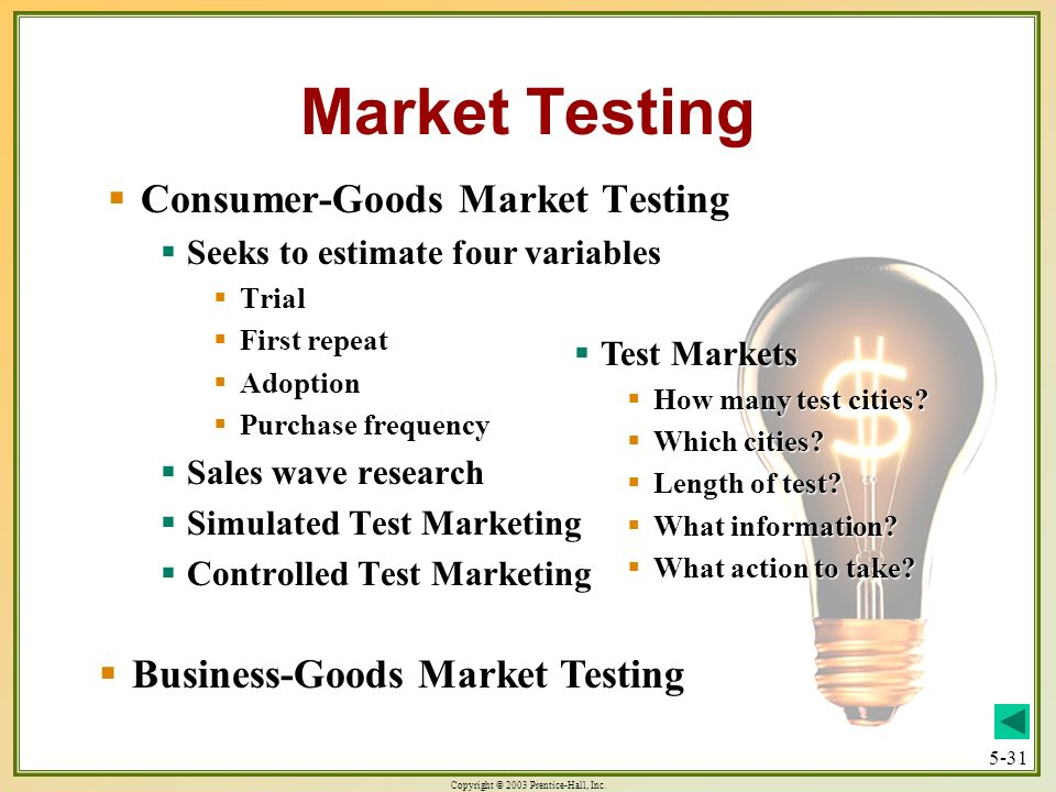 Market Testing Consumer-Goods Market Testing