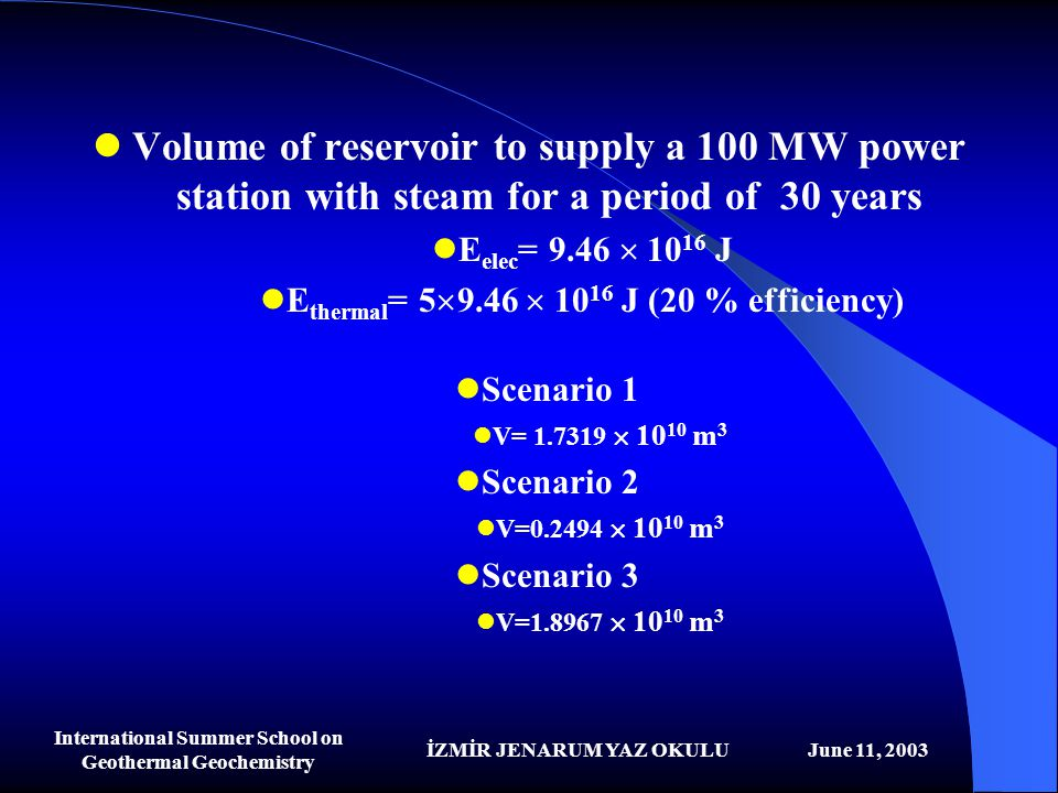 Volume of reservoir to supply a 100 MW power station with steam for a period of 30 years