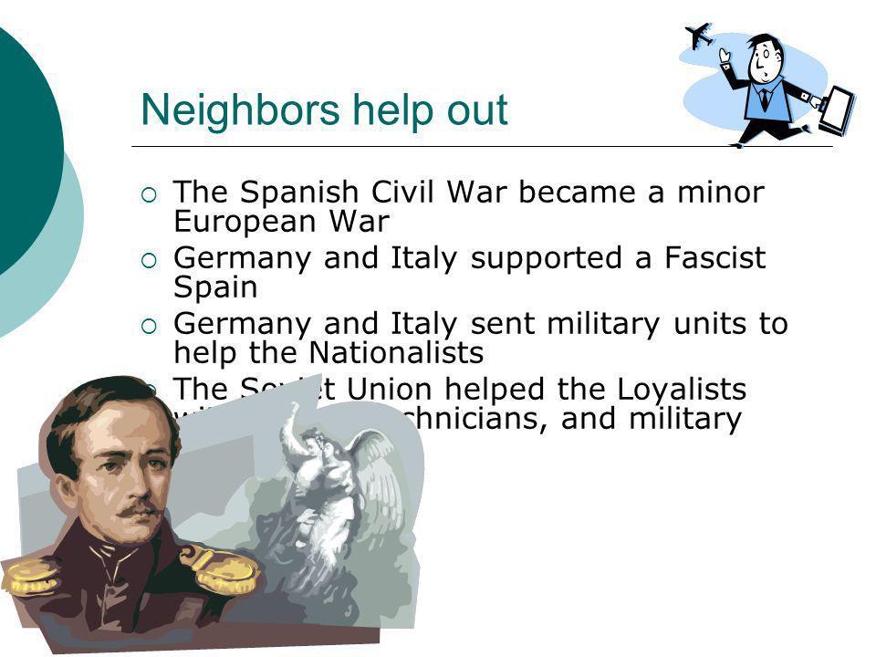 Neighbors help out The Spanish Civil War became a minor European War