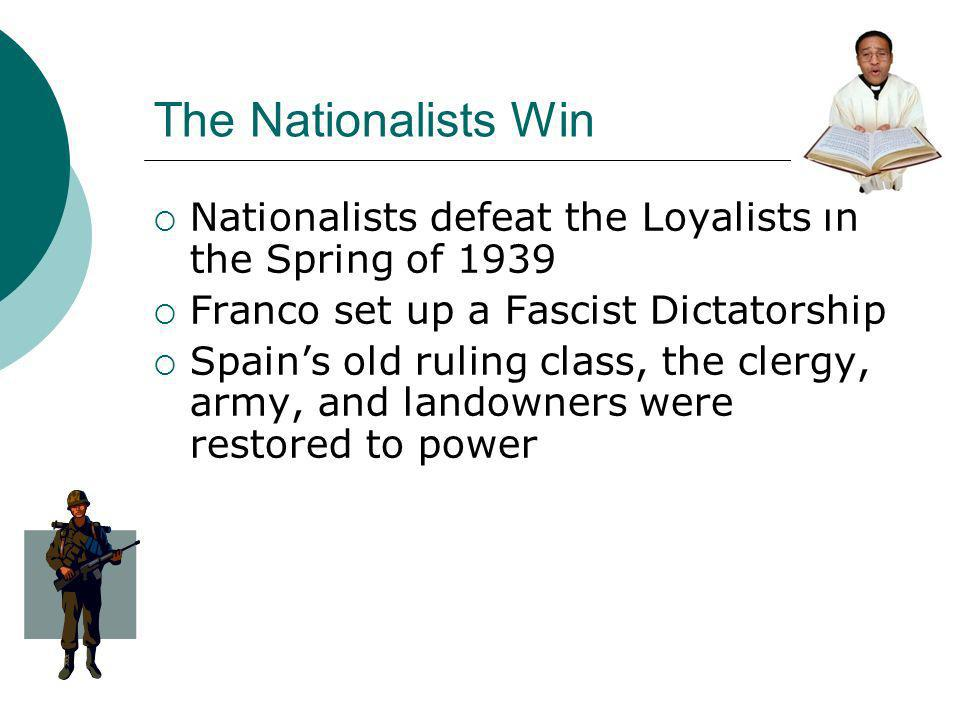 The Nationalists Win Nationalists defeat the Loyalists in the Spring of 1939. Franco set up a Fascist Dictatorship.