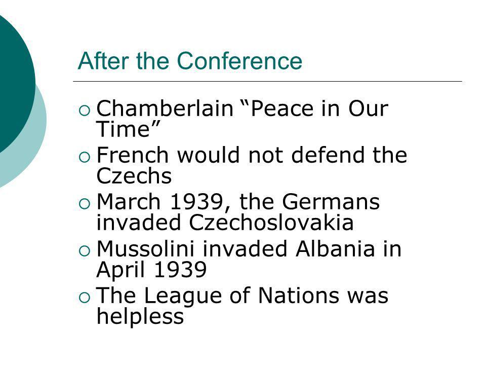 After the Conference Chamberlain Peace in Our Time