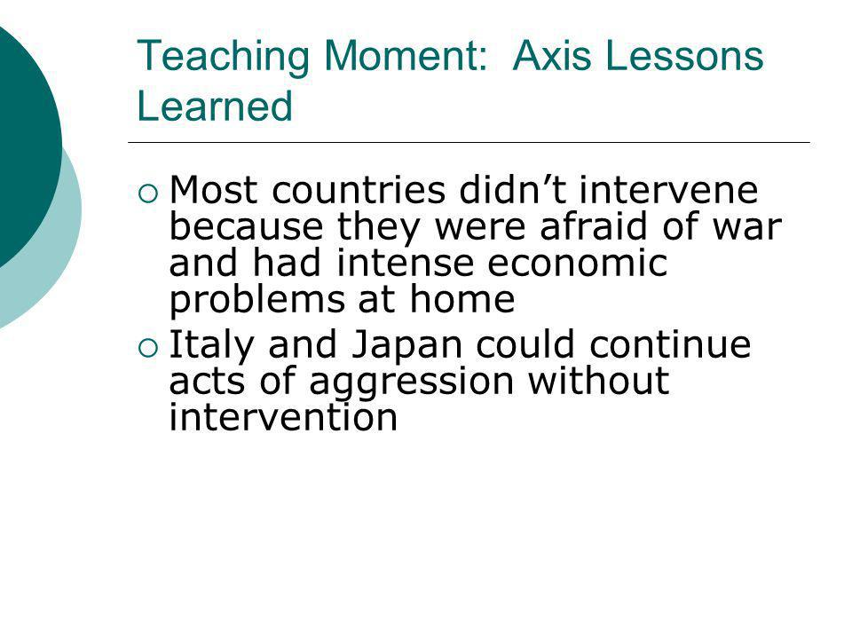 Teaching Moment: Axis Lessons Learned