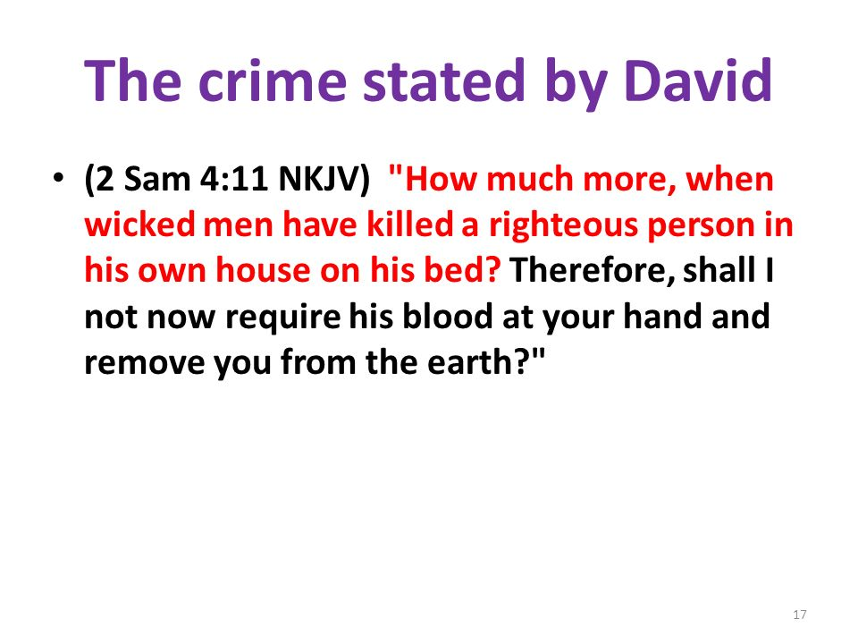 The crime stated by David