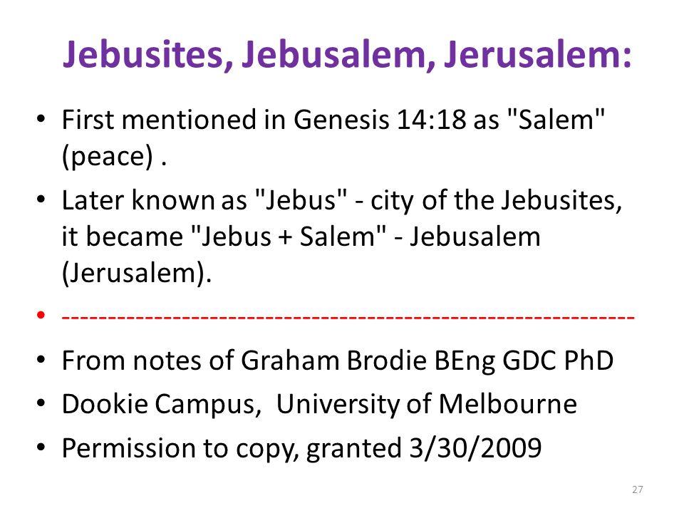Jebusites, Jebusalem, Jerusalem: