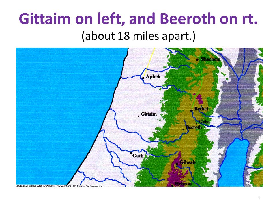 Gittaim on left, and Beeroth on rt. (about 18 miles apart.)