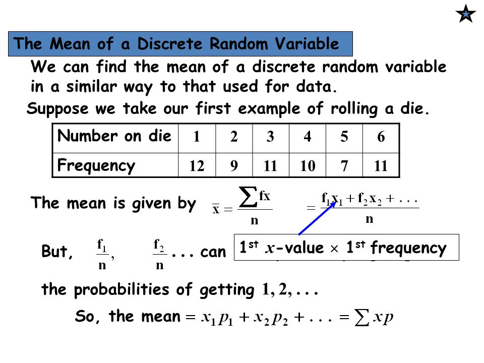 The Mean of a Discrete Random Variable