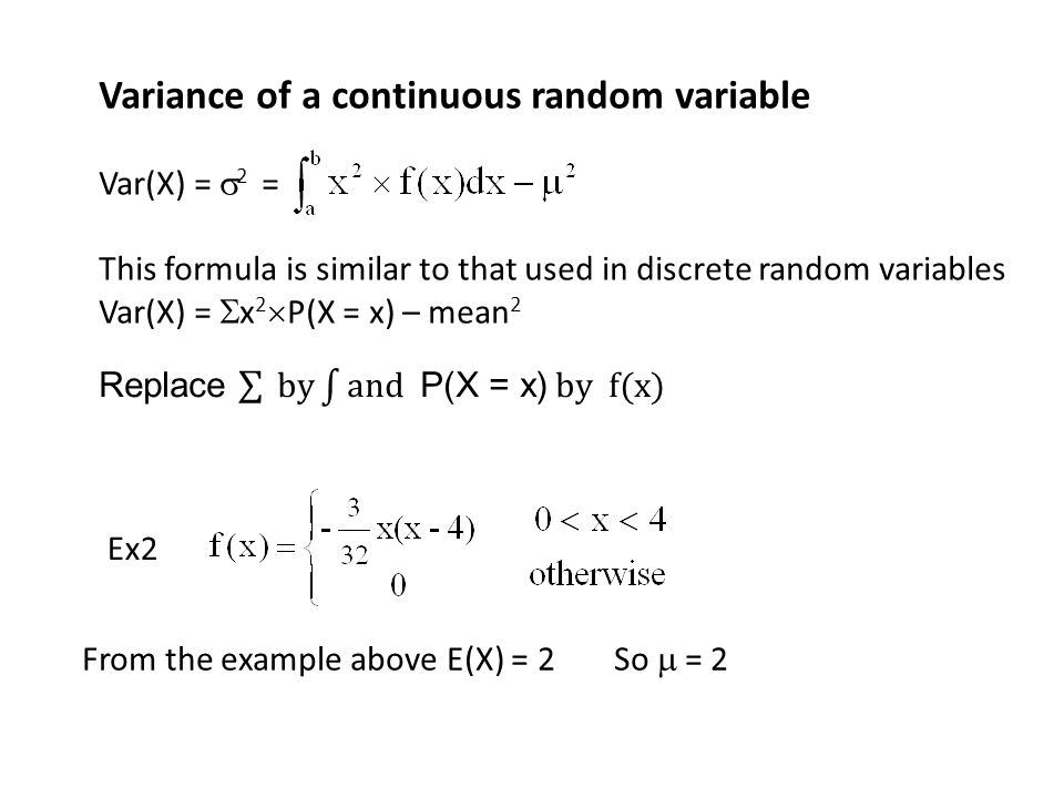 Variance of a continuous random variable