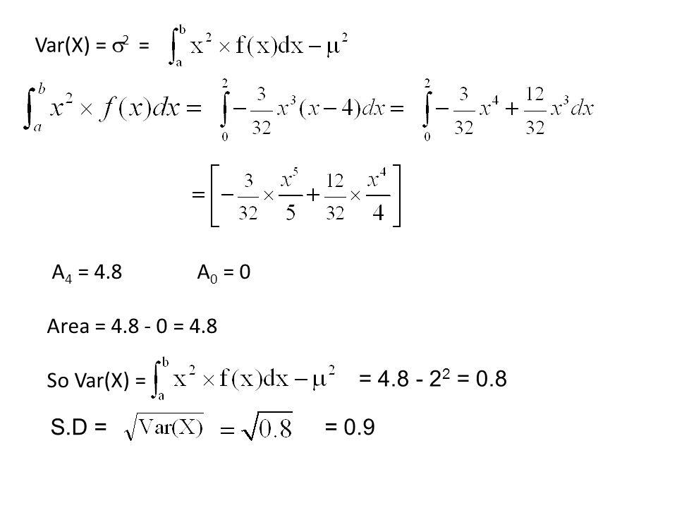 Var(X) = 2 = A4 = 4.8 A0 = 0 Area = 4.8 - 0 = 4.8 So Var(X) = = 4.8 - 22 = 0.8 S.D = = 0.9
