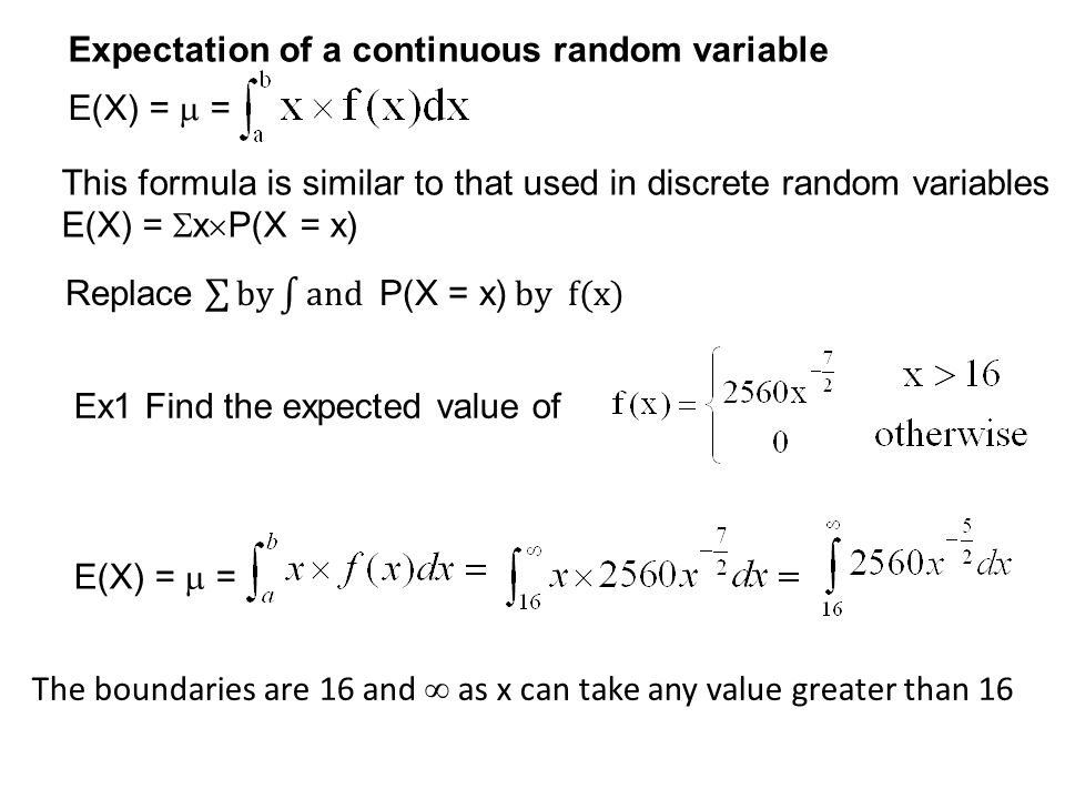 Expectation of a continuous random variable