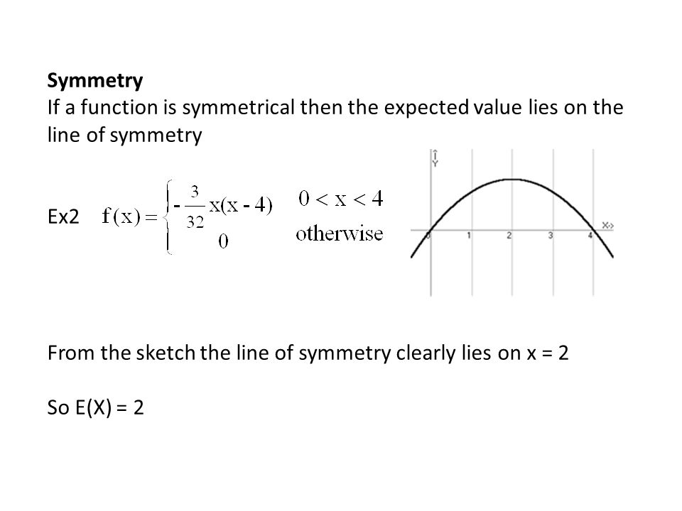 Symmetry If a function is symmetrical then the expected value lies on the line of symmetry. Ex2.