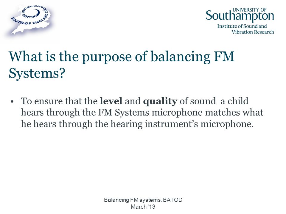 What is the purpose of balancing FM Systems