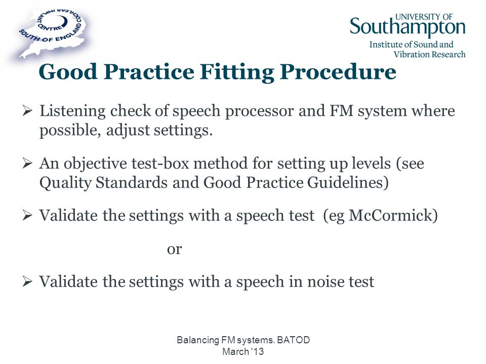 Good Practice Fitting Procedure