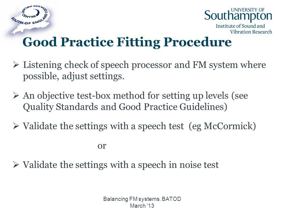Good Practice Fitting Procedure