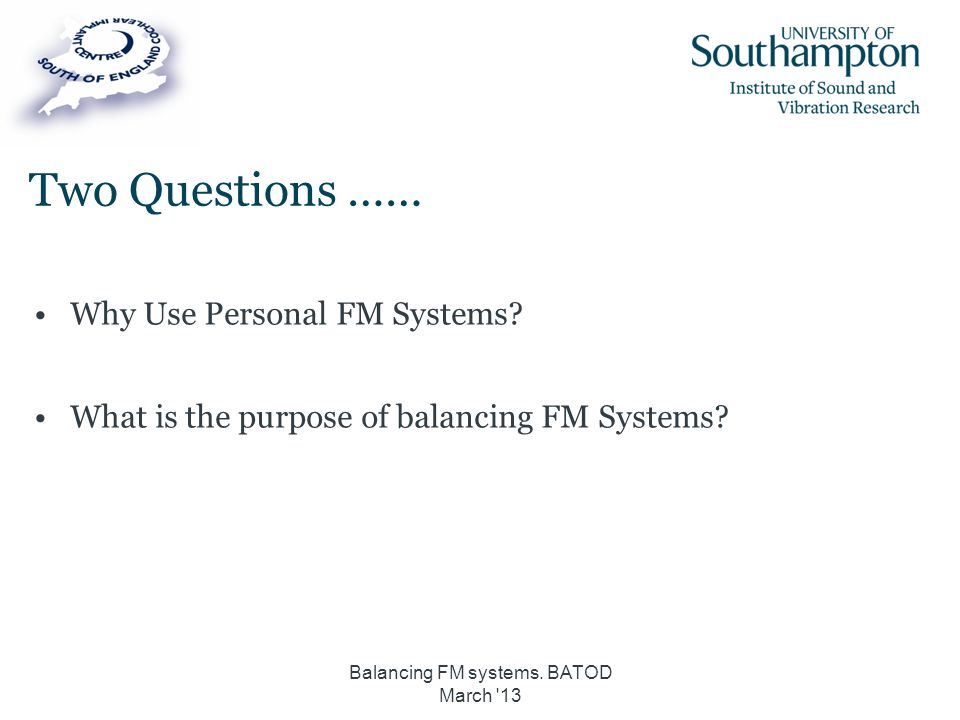Balancing FM systems. BATOD March 13
