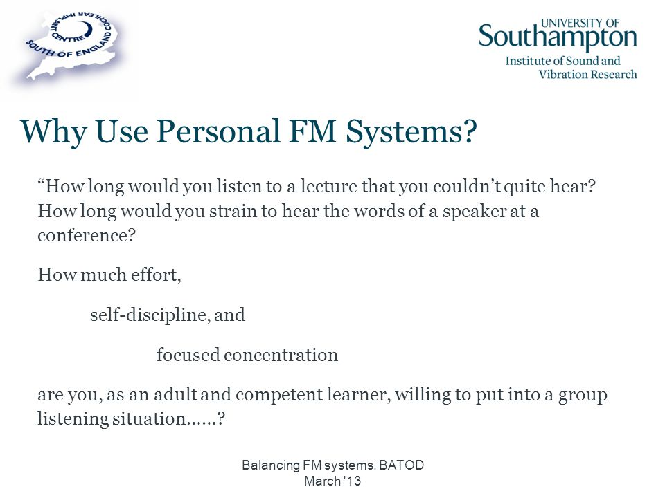 Why Use Personal FM Systems