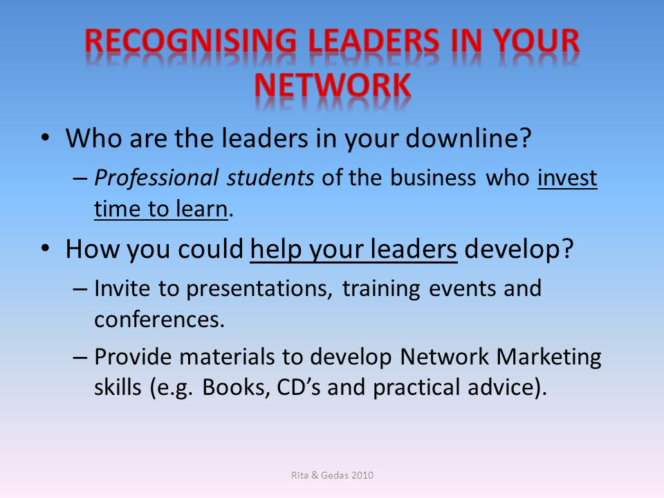Recognising leaders in your network