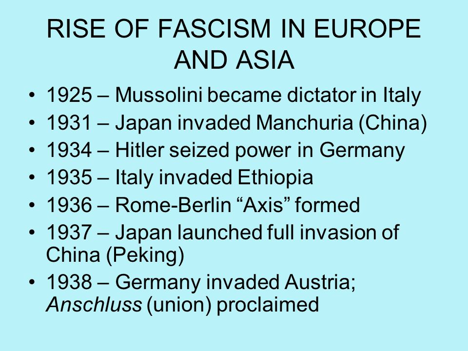RISE OF FASCISM IN EUROPE AND ASIA