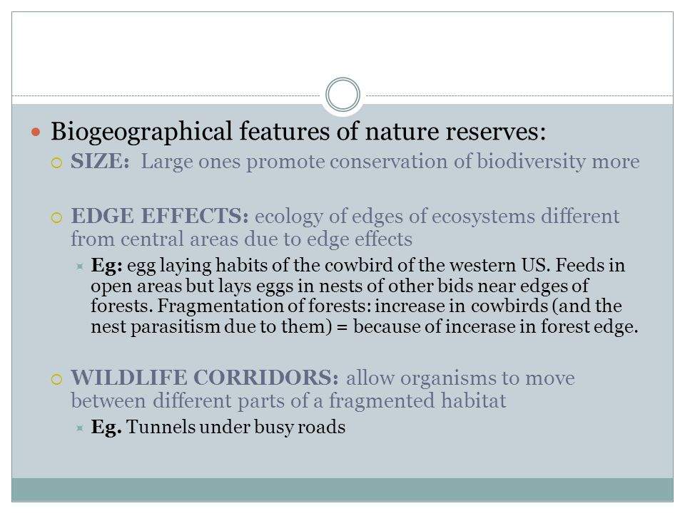 Biogeographical features of nature reserves:
