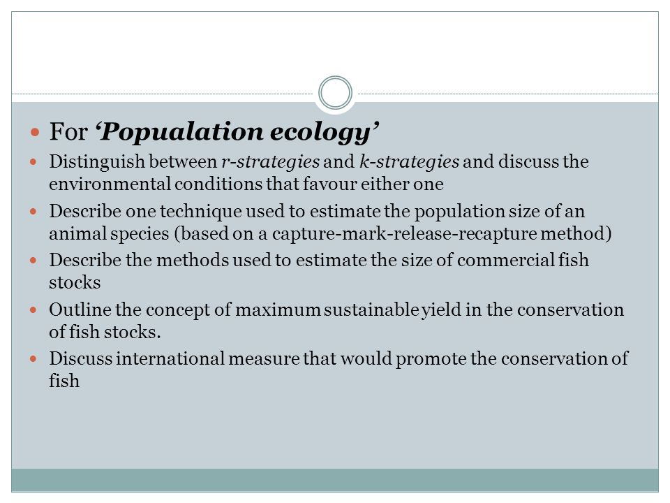 For 'Popualation ecology'