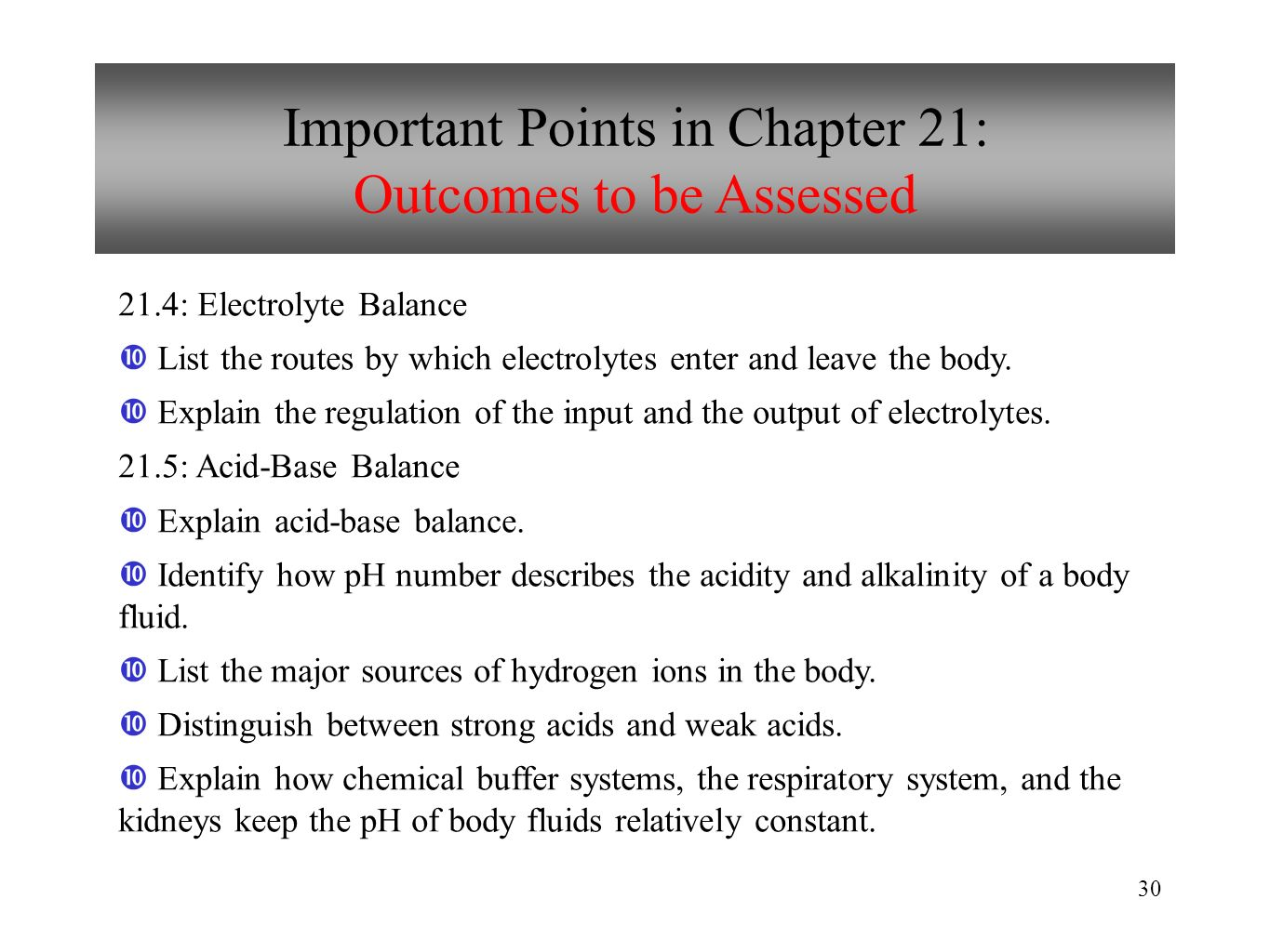 Important Points in Chapter 21: Outcomes to be Assessed