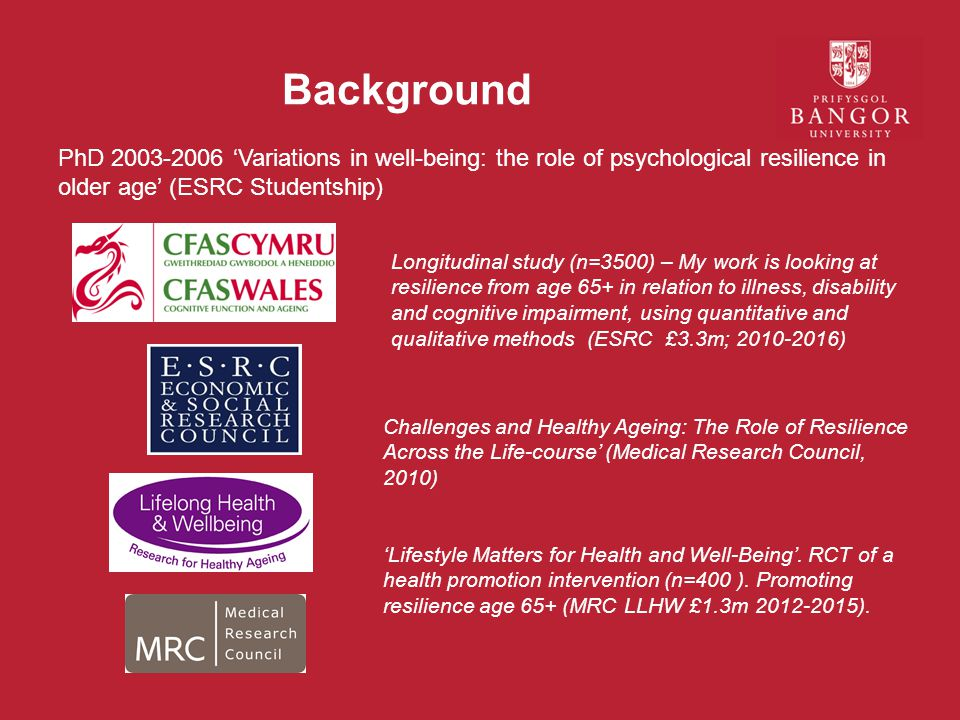 Background PhD 2003-2006 'Variations in well-being: the role of psychological resilience in older age' (ESRC Studentship)