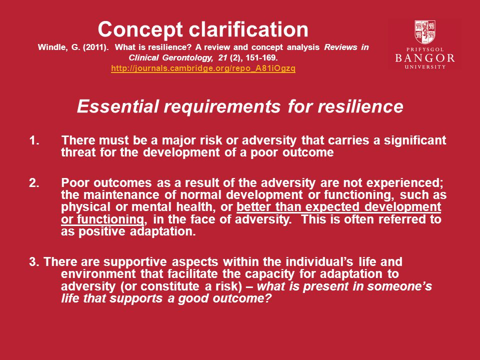 Essential requirements for resilience