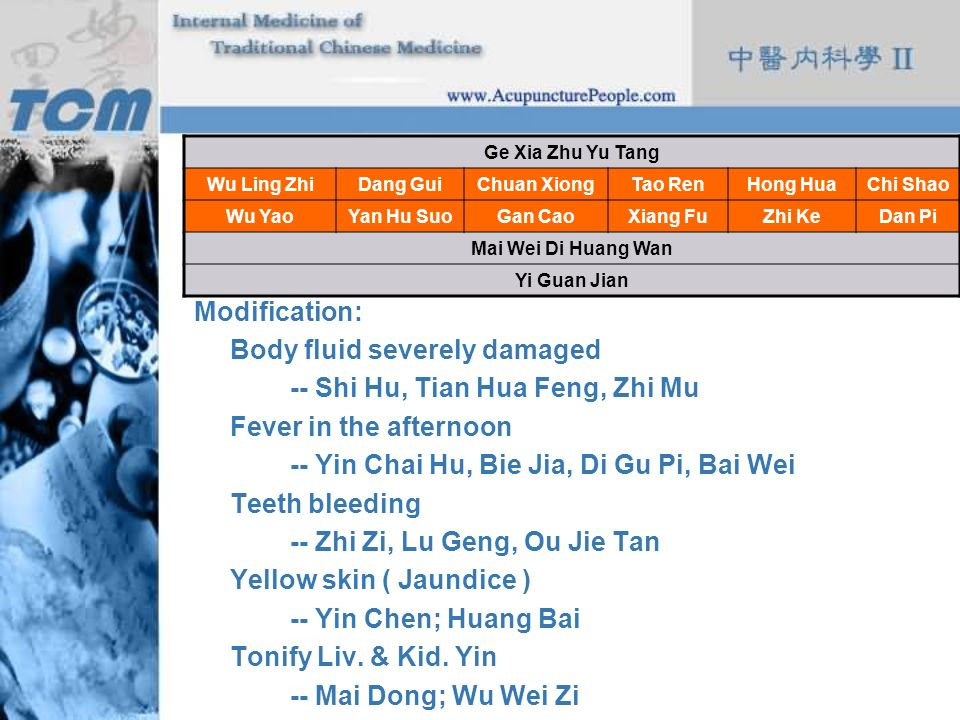 Body fluid severely damaged -- Shi Hu, Tian Hua Feng, Zhi Mu