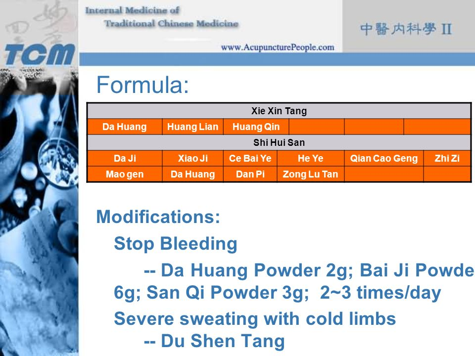 Formula: Modifications: Stop Bleeding