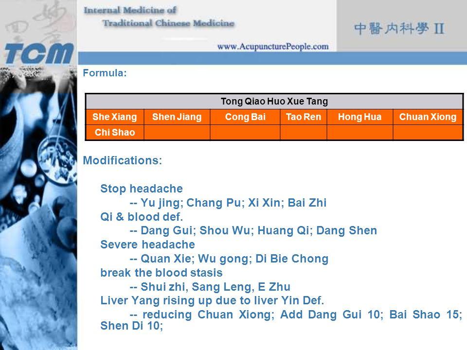 -- Yu jing; Chang Pu; Xi Xin; Bai Zhi Qi & blood def.