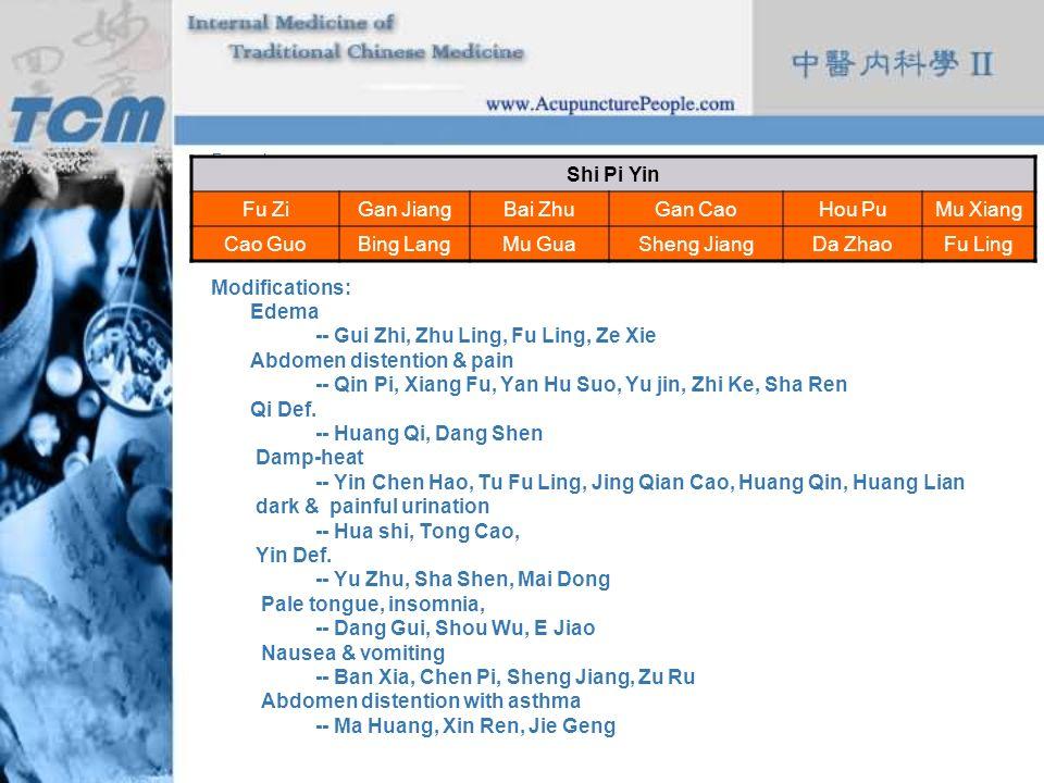 -- Gui Zhi, Zhu Ling, Fu Ling, Ze Xie Abdomen distention & pain
