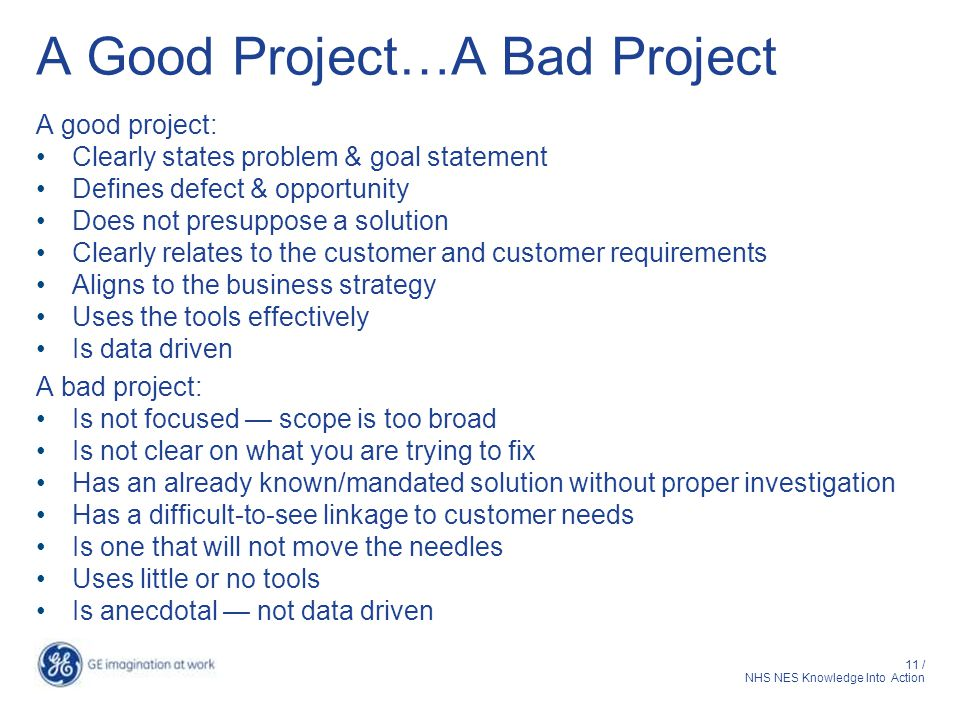 A Good Project…A Bad Project