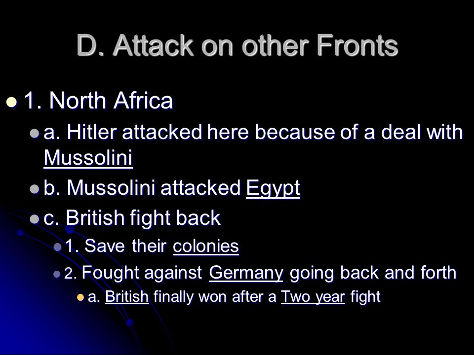 D. Attack on other Fronts