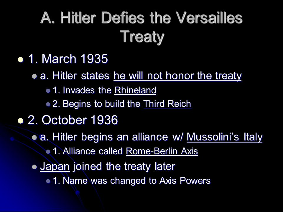 A. Hitler Defies the Versailles Treaty