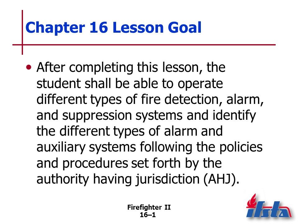 Chapter 16 Lesson Goal