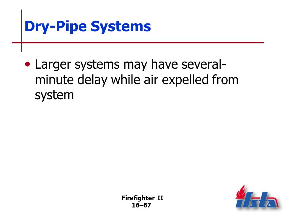 Dry-Pipe SystemsLarger systems may have several-minute delay while air expelled from system.