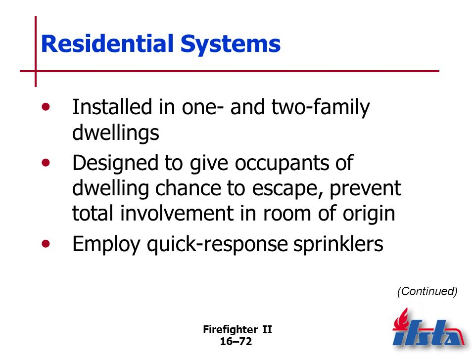 Residential Systems Installed in one- and two-family dwellings