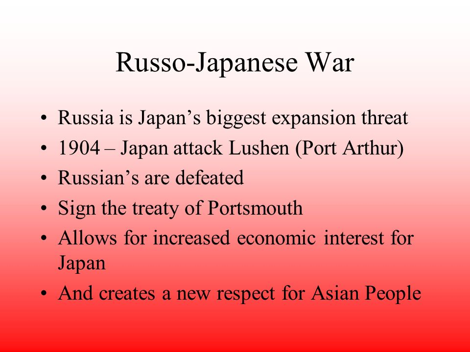 Russo-Japanese War Russia is Japan's biggest expansion threat