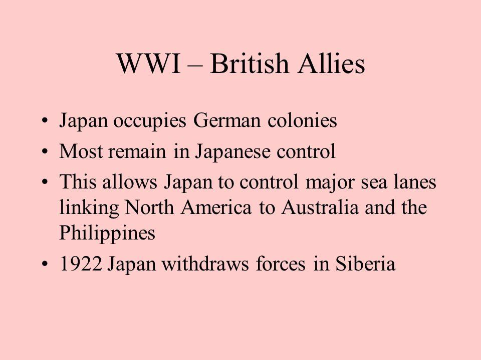 WWI – British Allies Japan occupies German colonies