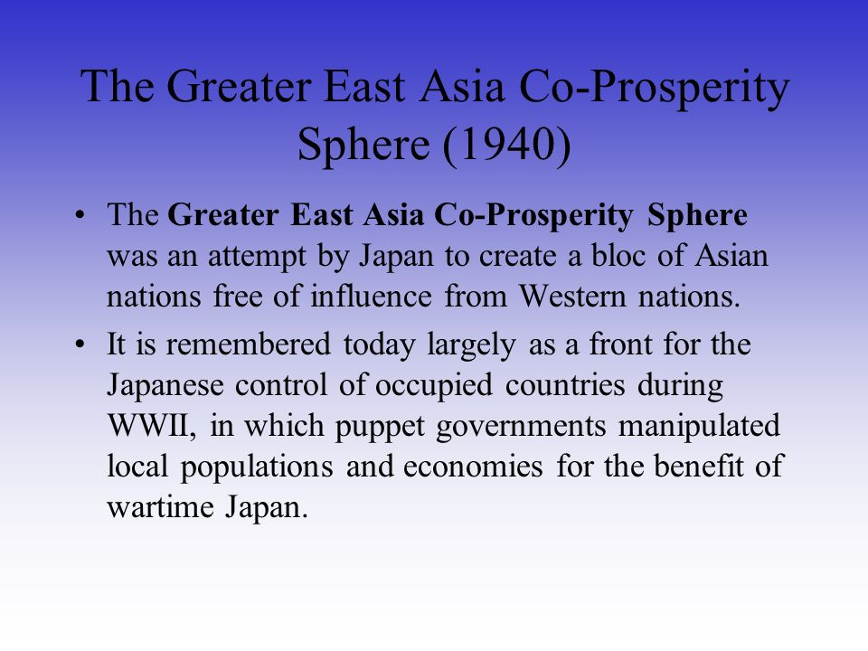 The Greater East Asia Co-Prosperity Sphere (1940)