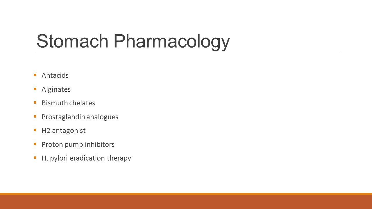 Stomach Pharmacology Antacids Alginates Bismuth chelates