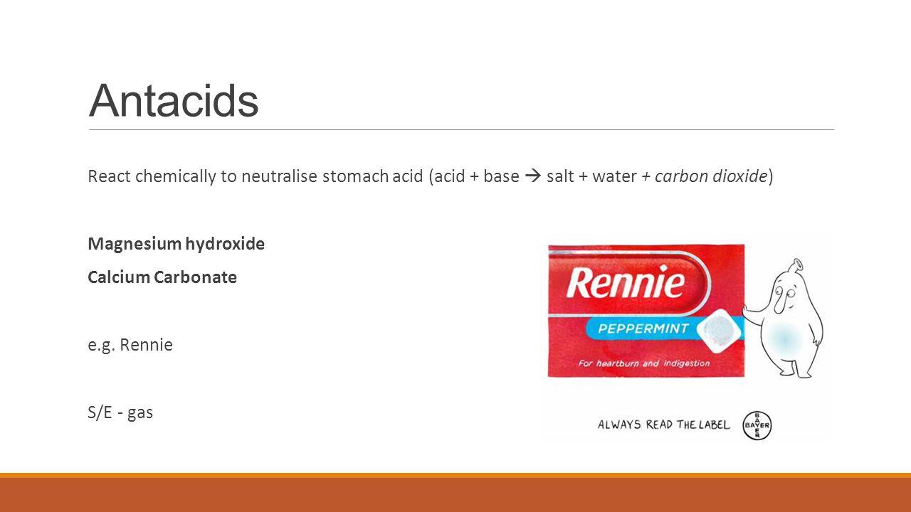 Antacids React chemically to neutralise stomach acid (acid + base  salt + water + carbon dioxide) Magnesium hydroxide.