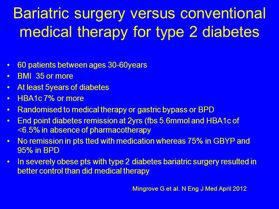 Bariatric surgery versus conventional medical therapy for type 2 diabetes