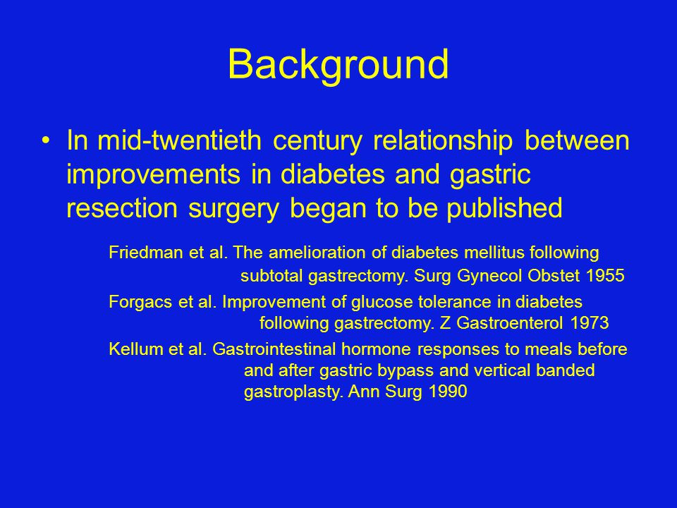 Background In mid-twentieth century relationship between improvements in diabetes and gastric resection surgery began to be published.